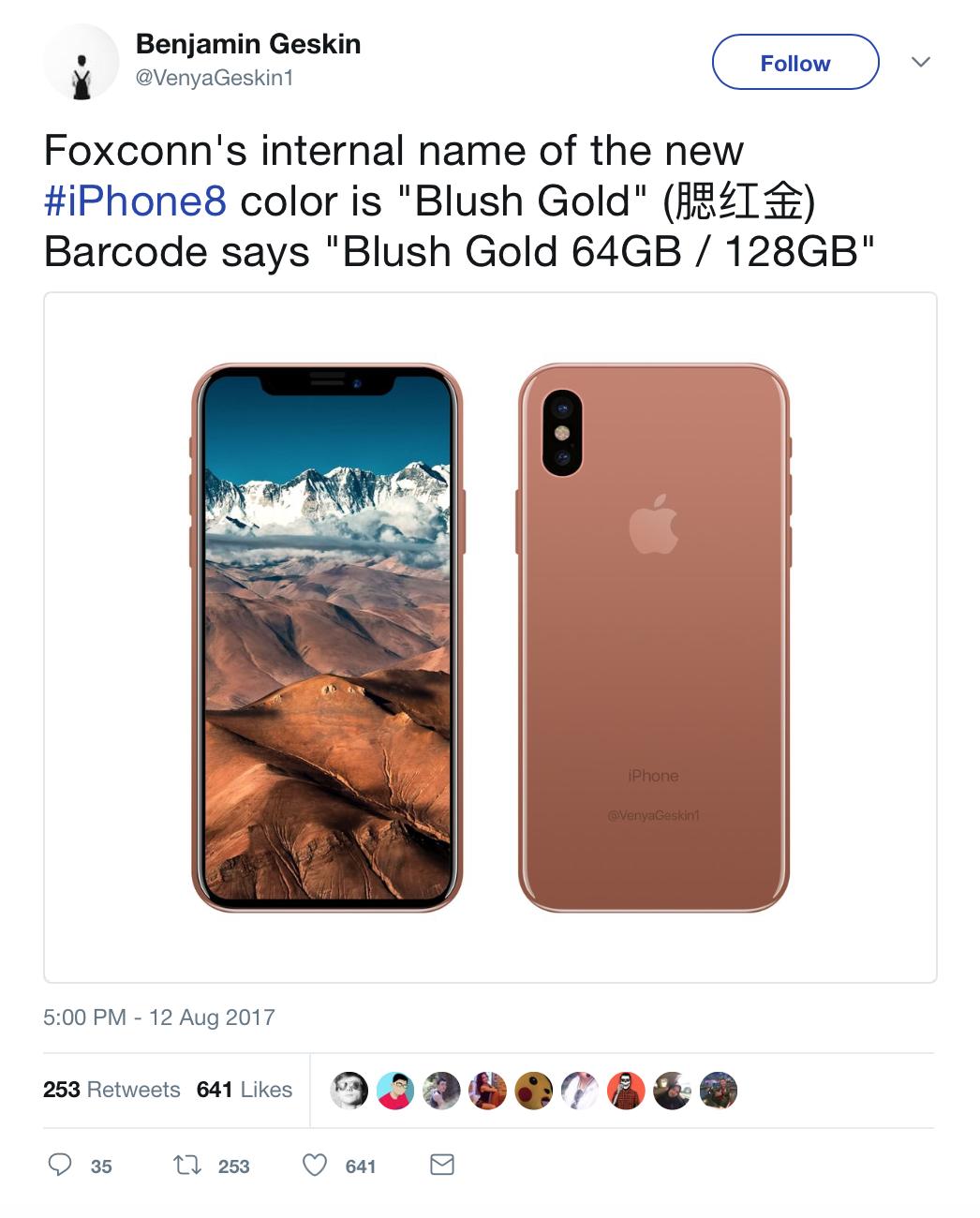 blush gold iPhone 8