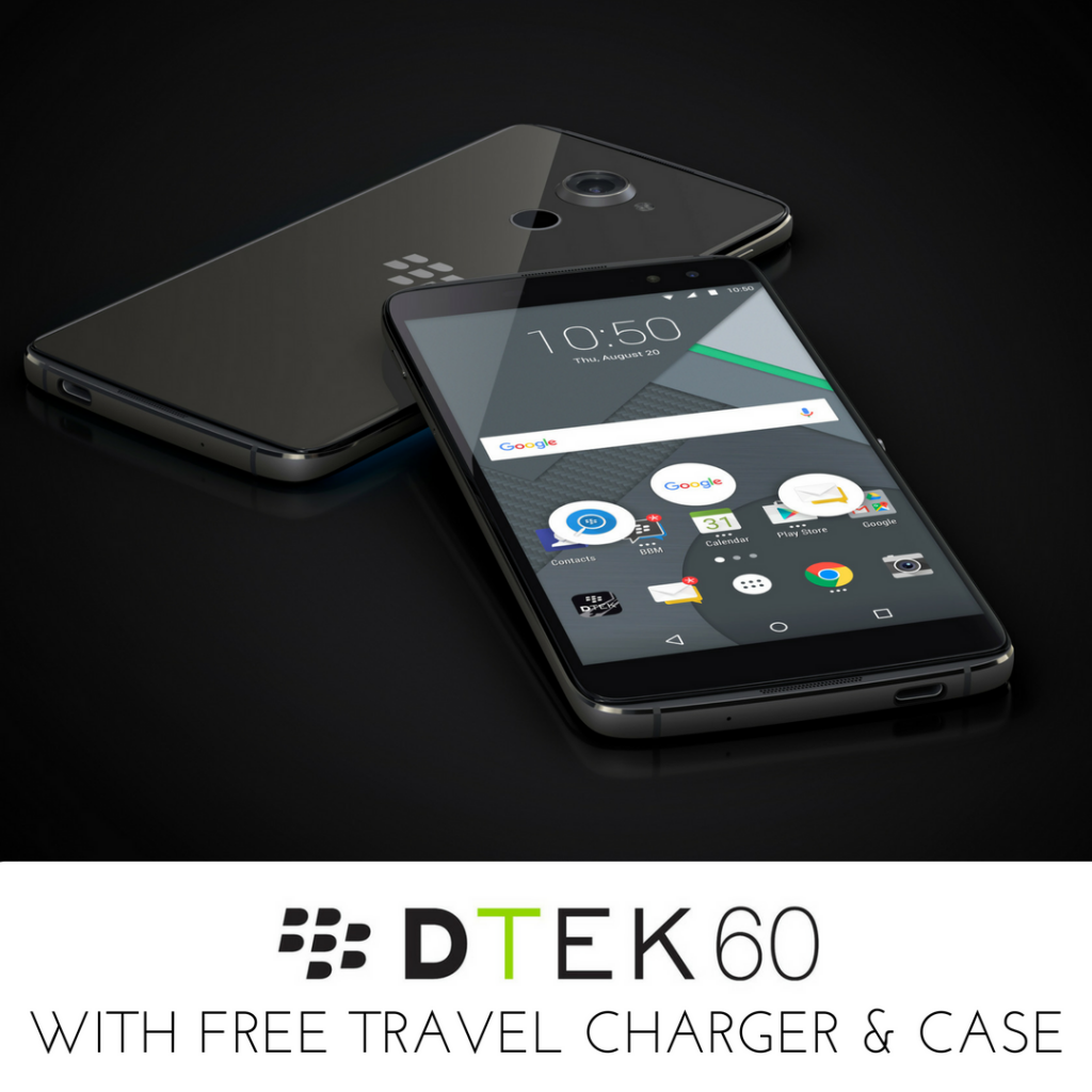 blackberry dtek60 WITH FREE charger and case
