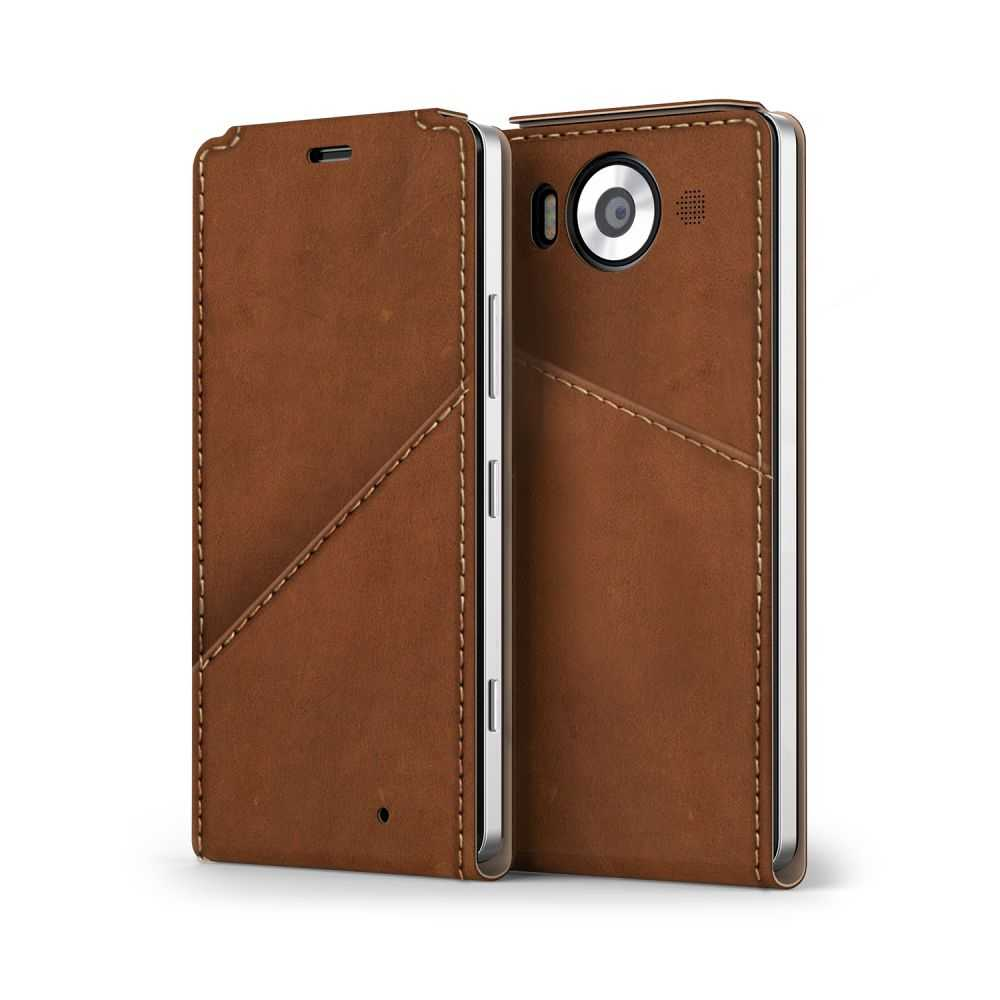 Mozo Qi Wireless Charging Notebook Flip Cover Case for Microsoft Lumia 950